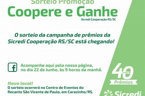 Sicredi Cooperação RS/SC promove sorteio da Promoção Coopere e Ganhe